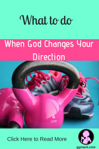 Gods direction changes from GGs fitness career to faith; picture of weights and shoes