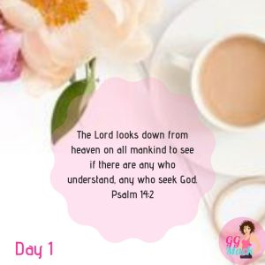Psalm 14:2 verse with a picture of coffee and flowers