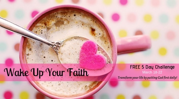 pink coffee mug with polka dots in the background. Word: wake up your faith challenge