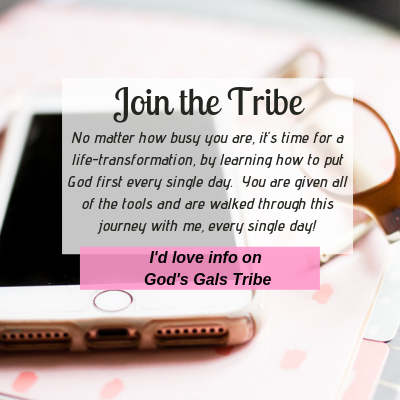 picture of a pink polka dot journal with a cell phone and glasses on top of it and the words that say Join the Tribe, learn how to put God first everyday