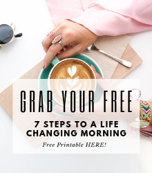 cup of coffee with hands holding onto it on a table. Words: free 7 step morning routine guide